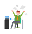 happy businessman throwing up papers vector image