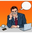 Pop Art Serious Businessman with Eyeglasses vector image
