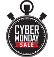Cyber monday sale stopwatch black icon with red vector image vector image
