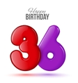 Birthday greeting card template with glossy thirty vector image