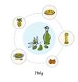 Famous Italian Symbols Doodle Concept vector image