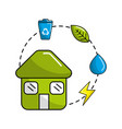 house with save energy water and recycle campaign vector image