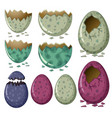 different patterns of dinosaur eggs vector image vector image