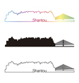 Shantou skyline linear style with rainbow vector image vector image