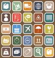 Logistics falt icons on brown background vector image