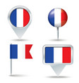 Map pins with flag of France vector image