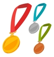 Set of three champion medals award with ribbon vector image