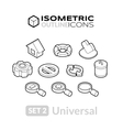 Isometric outline icons set 2 vector image