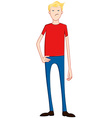 Blond Angry Guy In Red Shirt vector image