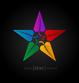Colorful star made of leafs Abstract design vector image