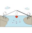 couple fishing heart vector image