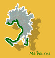 melbourne australia map in retro style sticker vector image