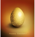 Easter background with gold filigree egg vector image