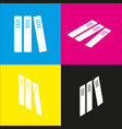 row of binders office folders icon  white vector image