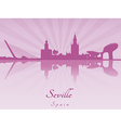 Seville skyline in purple radiant orchid vector image