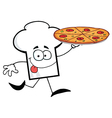 Chef Hat Guy Carrying A Pizza vector image