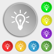 Light bulb icon sign Symbol on eight flat buttons vector image