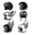 set of the racer helmets design elements for logo vector image