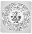 Set of Wedding cartoon doodle objects round frame vector image