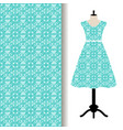women dress fabric with blue pattern vector image