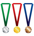 Three medals set Gold silver and bronze on red vector image