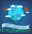 cartoon for earth day planet vector image vector image