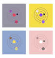 flat icon design collection planets and the orbit vector image vector image