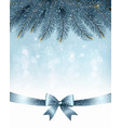 Winter snow and blue ribbon background vector image vector image