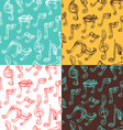 Set of seamless vintage music patterns vector image