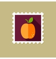 Apricot flat stamp with long shadow vector image