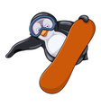 Fat penguin in protective spectacles makes jump on vector image