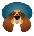 Basset Hound isolated on circle blue frame vector image
