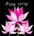 Bright Beautiful graphics card with pink lotus vector image