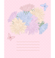 background with bouquet flowers and butterflies vector image