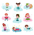 cute little kids playing and dreaming while vector image