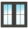 dark closed double window vector image