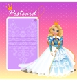 Doll Queen with postcard holiday card invitation vector image