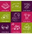 Set of travel drawings Sketches Hand-drawing vector image
