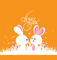 happy easter green spring with bunny couple and vector image