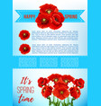 spring holiday poster with poppy flowers vector image vector image