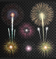 Set of isolated realistic fireworks vector image vector image