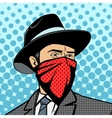 Gangster with hidden face pop art vector image