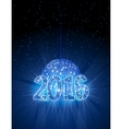 Number 2016 with disco blue ball vector image