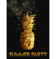 Gold low poly pineapple design for summer party vector image