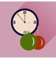 flat icon with long shadow clock and Christmas vector image