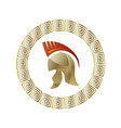 greek helmet icon circle gradient frame vector image
