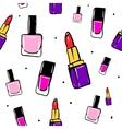 seamless pattern with lipstick nail polish vector image