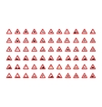 Set of triangular road signs isolated on white vector image