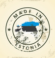 Stamp with map flag of Estonia vector image
