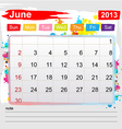 Calendar june 2013 vector image